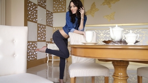 Women Model Jeans Jean Jacket Blue Eyes Long Hair Dark Hair Indoors Feet Tiptoe 2300x1534 Wallpaper