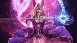 Blonde Blue Eyes Fantasy Magic Purple Staff 1920x1200 wallpaper