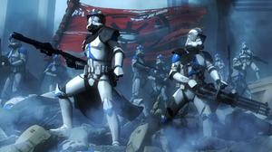 Star Wars Clone Trooper Battle Rifles Flag Mist 1920x1080 wallpaper