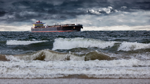 Cloud Horizon Ocean Ship Tanker Wave 3600x2400 wallpaper