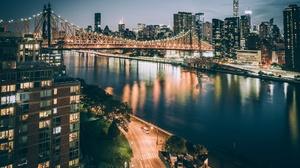 Bridge Building City New York Night Queensboro Bridge Skyscraper Usa 2048x1366 Wallpaper