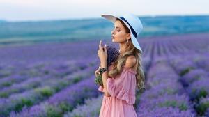 Woman Model Girl Hat Summer Pink Dress Blonde Depth Of Field 2000x1252 Wallpaper