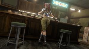 Jessie Rasberry Final Fantasy Video Games Video Game Girls Bar Brunette Ponytail Headband Armor Behi 5760x3240 Wallpaper