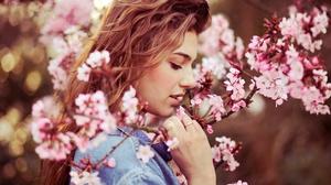 Woman Model Girl Spring Blossom Flower Long Hair Brunette 2048x1365 Wallpaper