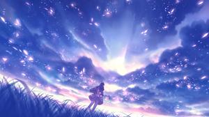 Anime Anime Girls Bou Nin Artwork Sky Clouds 2000x1244 Wallpaper