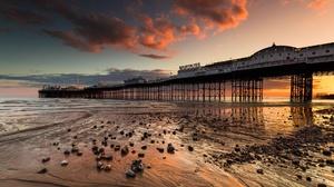 England UK Sussex Brighton England Pier Coast Sky Sunlight Outdoors Clouds 2048x1152 Wallpaper