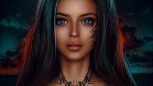MiniDem Women Fantasy Girl Brunette Blue Eyes Spider Sky Clouds Bare Shoulders Tattoo Dark Fantasy A 1920x1475 Wallpaper