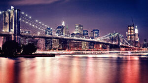 City Cityscape Urban Night Photography Street New York City Bridge Building Manhattan Brooklyn Bridg 7680x4320 Wallpaper