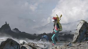 Boy Pikachu Pokemon Poliwhirl Pokemon Red Pokemon 6000x2501 wallpaper