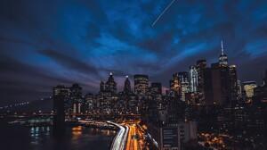 Bridge City Light Meteor New York Night Skyscraper Time Lapse 5263x3509 Wallpaper