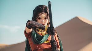 Long Hair Women Cosplay Sword Depth Of Field 3840x2160 Wallpaper