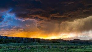 Cloud Grass Lightning Sunset 2199x1204 Wallpaper