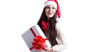 Woman Christmas Santa Hat Girl Long Hair Smile Gift Brunette 4500x3000 Wallpaper