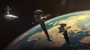 Rasmus Poulsen Science Fiction Star Wars Star Wars Ships Artwork Star Destroyer Planet ArtStation 1920x892 wallpaper