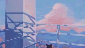Building Sky Blue City 2048x2048 wallpaper