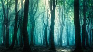 Fog Oil Painting Path Tree 3840x2160 Wallpaper