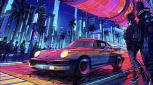 Cyberpunk Digital Art Porsche 1920x1080 Wallpaper