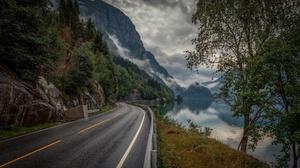Lake Mountain Norway Road 2448x1500 Wallpaper