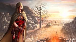Cape Dark Souls Ii Field Girl 3840x2160 Wallpaper