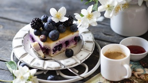 Berry Cheesecake Coffee Fruit Pastry White Flower 1920x1290 Wallpaper