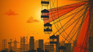 Illustration Orange Background Sunset City Sparrow Sun Silhouette 3840x2160 Wallpaper