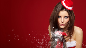 Blue Eyes Brunette Christmas Girl Hat Kiss Model Woman 2880x1800 Wallpaper