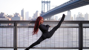 Women Redhead Dyed Hair Legs Urban Flexible Looking At Viewer Bridge City Long Hair Black Women Mode 2560x1707 Wallpaper