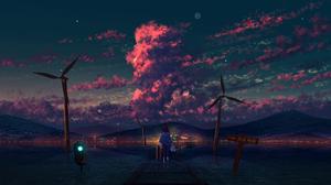 Artwork Night Stars Clouds Wind Turbine Railway 1920x1080 Wallpaper
