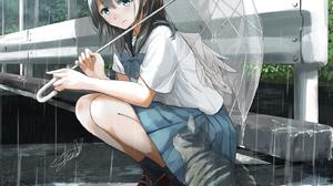 Sad Cats Angel Ghost Melancholic Wings Death Rain Umbrella School Uniform Anime Girls Soragane Artwo 1556x2000 wallpaper