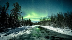 Aurora Borealis Nature Night River Sky Snow Winter 3840x2160 Wallpaper