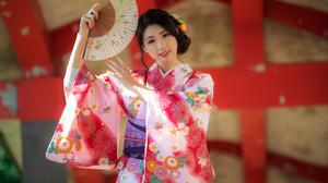 Woman Model Girl Fan Kimono Black Hair 3840x2560 Wallpaper