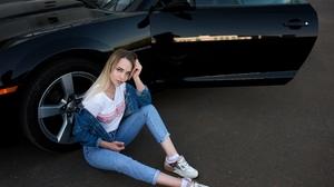 Camaro Women Model Brunette Jeans Denim Jacket T Shirt Sneakers Women Outdoors Sitting Socks Street 2560x1709 Wallpaper