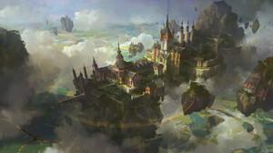 Fantasy Architecture Fantasy Art Fantasy City City Clouds Dragon Floating Castle 1920x1055 Wallpaper