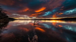 Cloud Lake Nature Reflection Sunset 2048x1100 wallpaper
