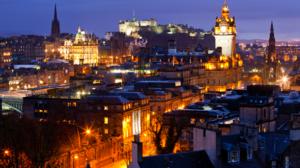 Edinburgh Scotland UK Cityscape Night Lights Old Building Rooftops Tower City Castle Clocktowers 1920x1280 wallpaper