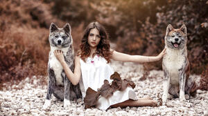Alessandro Di Cicco Women Brunette Long Hair Wavy Hair Looking At Viewer White Clothing Animals Wolf 2048x1365 Wallpaper