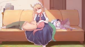 Kobayashi San Chi No Maid Dragon Long Hair Ponytail Twintails Barefoot Maid Outfit Sleeping Looking  2136x1377 Wallpaper