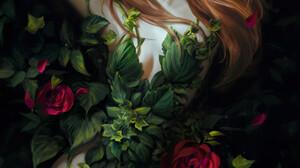 Artwork Women Fantasy Girl Plants Flowers Leaves Fantasy Art Pointy Ears Long Hair Red Lipstick Look 1500x2238 Wallpaper