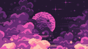 Digital Art Pixel Art Pixelated Pixels Space Clouds Stars Planet Space Clouds 2880x1920 Wallpaper