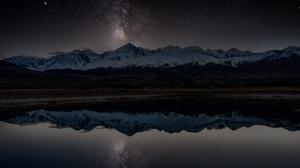 Stars Snow Mountain Lake Reflection Milky Way 3840x2160 Wallpaper