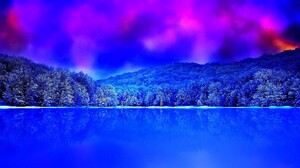 Blue Colorful Colors Earth Lake Pink Purple Sky Sunset Winter 1920x1080 wallpaper