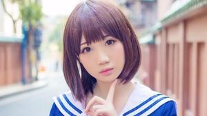 Asian Model Women Short Hair Brunette Depth Of Field Sailor Uniform Street Looking At Viewer 2048x1365 Wallpaper