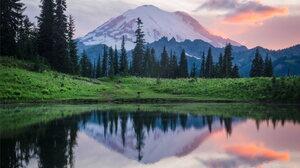 Landscape Lake Forest Snowy Peak 1364x1707 wallpaper