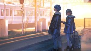 Anime Anime Girls Anime Boys Anime Couple Original Characters 3413x3045 wallpaper