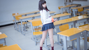 JK Black Hair Blue Eyes Bow Tie School Uniform Asian Schoolgirl Shika XiaoLu 4032x2688 Wallpaper