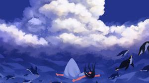 Cloud Girl Penguin 2508x2000 Wallpaper