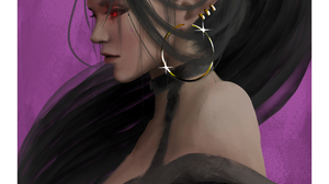 Original Characters Fan Art Illustration Portrait Character Design Horns Ponytail Hoop Earrings Gus  3200x4000 Wallpaper