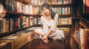 Woman Model Girl Book Black Hair Library 2047x1365 Wallpaper