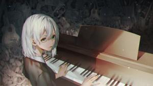Anime Anime Girls Green Eyes Blonde Short Hair Pianists Trash Guitar Piano 2232x1649 Wallpaper
