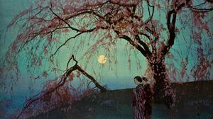 Yoshida Hiroshi Japanese Art Painting Moonlight Sakura Blossom Trees Artwork Women Japanese Clothes  4732x3580 Wallpaper